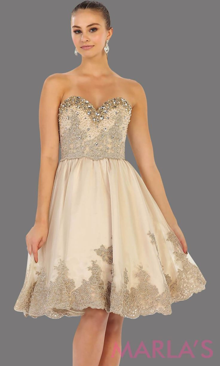 7476-Mid length champagne strapless dress with lace detail and corset back. Perfect for grade 8 graduation dress, confirmation dress, wedding guest dress, sweet 16 dress, quinceanera, damas, or short light gold prom dress. Available in plus sizes #graduationdress  #graddress #promdress #bridaldress  #showerdress #confirmationdresses 7476-Mid length champagne strapless dress with lace detail and corset back. Perfect for grade 8 graduation dress, confirmation dress, wedding guest dress, sweet 16 d #confirmationdresses