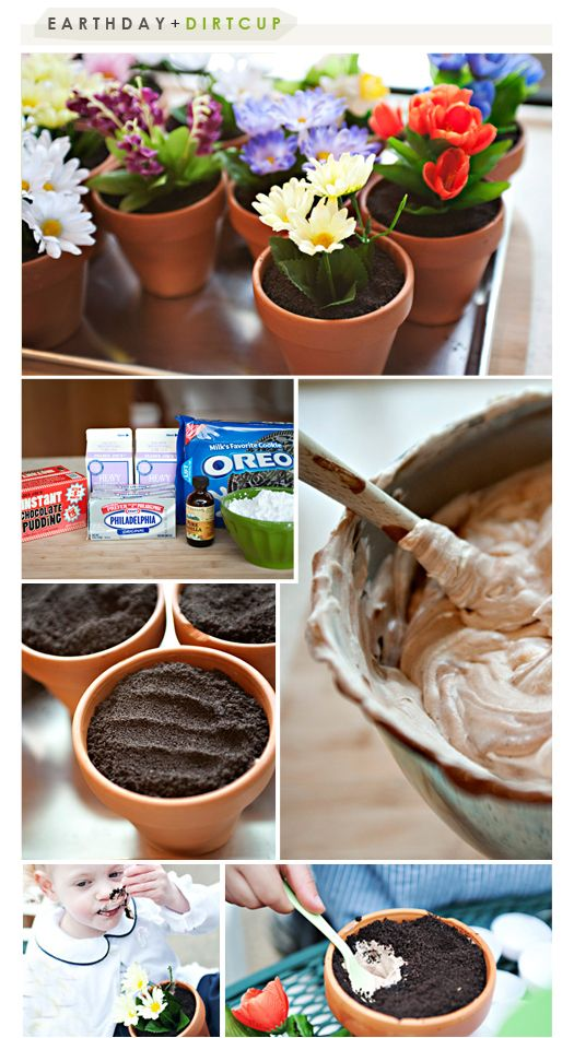 """Ella would love a """"garden"""" b-day party!  I have always wanted to make the """"dirt"""" flower pots!"""