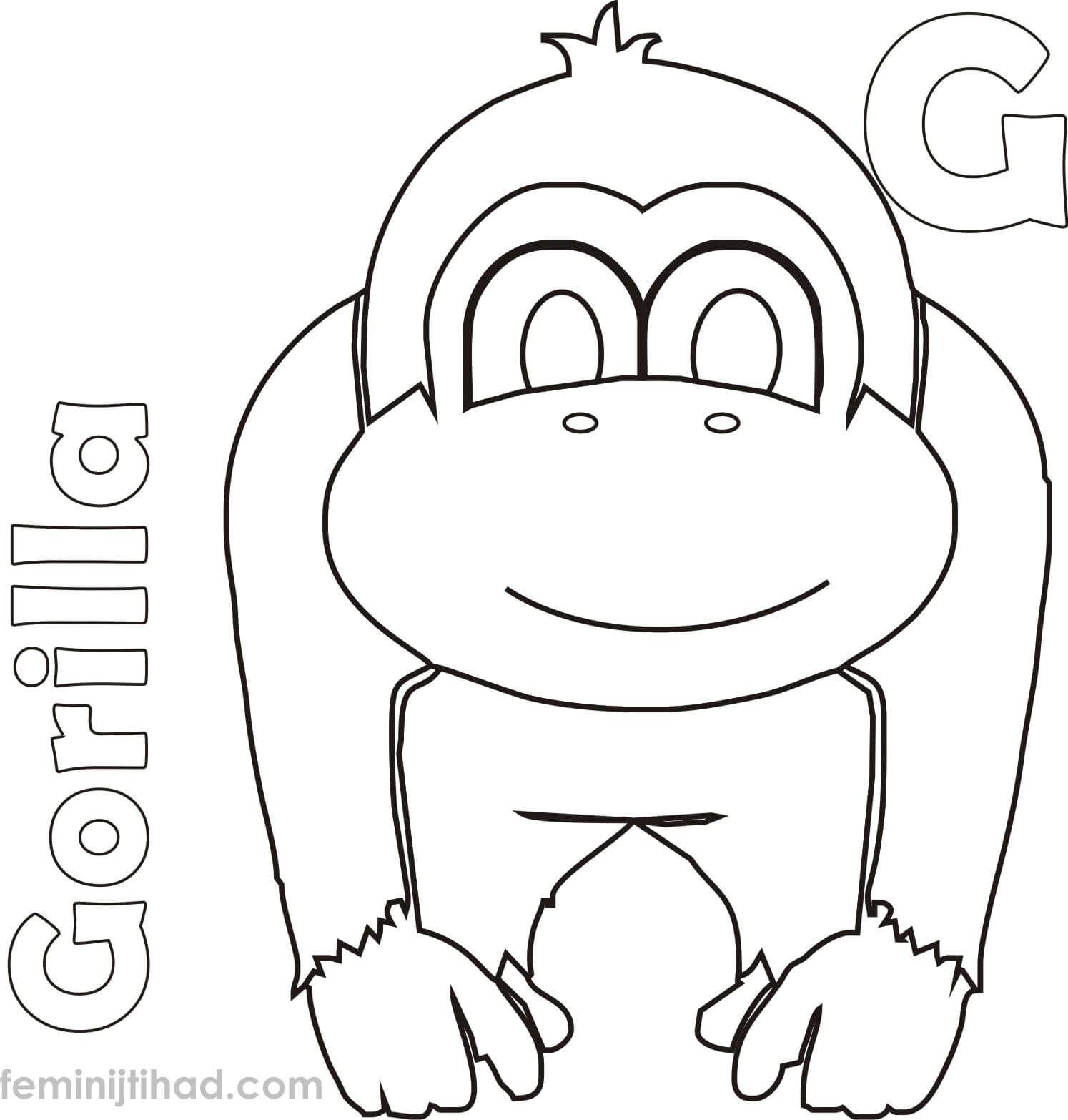 Gorilla Coloring Pages Printable (Dengan gambar)