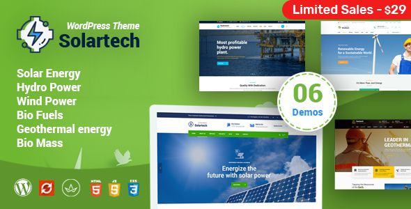 Solar Tech Alternative Renewable Energy Wordpress Theme Free Download Tech Wordpress