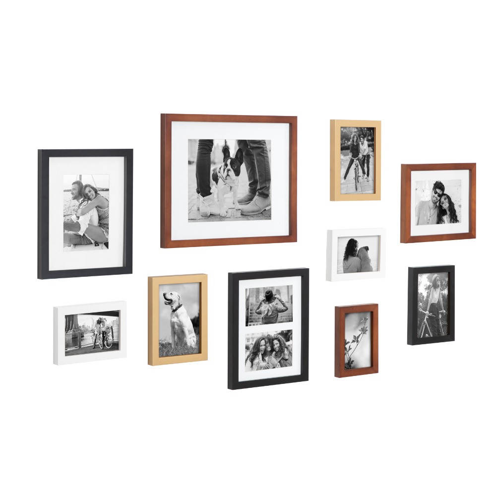 Kate And Laurel Gallery Mid Century Wood Wall Frame Set Set Of 10 Walnut Brown Gold Black And White Walmart Com