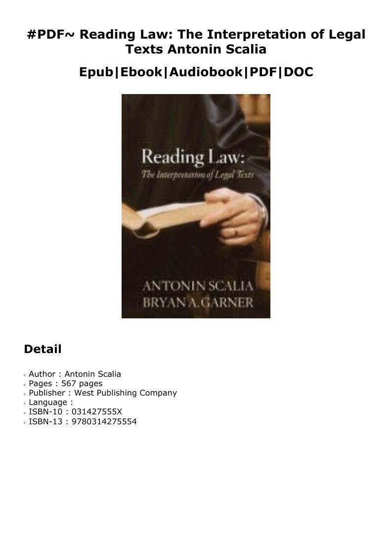 Pdf Reading Law The Interpretation Of Legal Texts Antonin Scalia Audio Books Books Reading