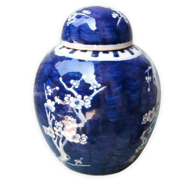 "From Jingdezhen China: 8"" Tall Chinese Blue & White Porcelain Cheery Blossom Jar *"