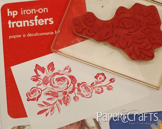 how to stamp onto iron on transfer paper and transfer to canvas by