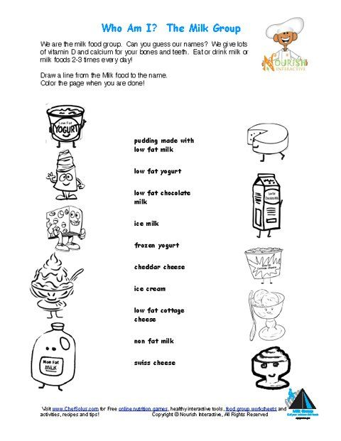 Printable Match The Milk Names And Color The Milk Foods Nutrition Facts Label Food Nutrition Facts Nutrition Worksheets For Kids
