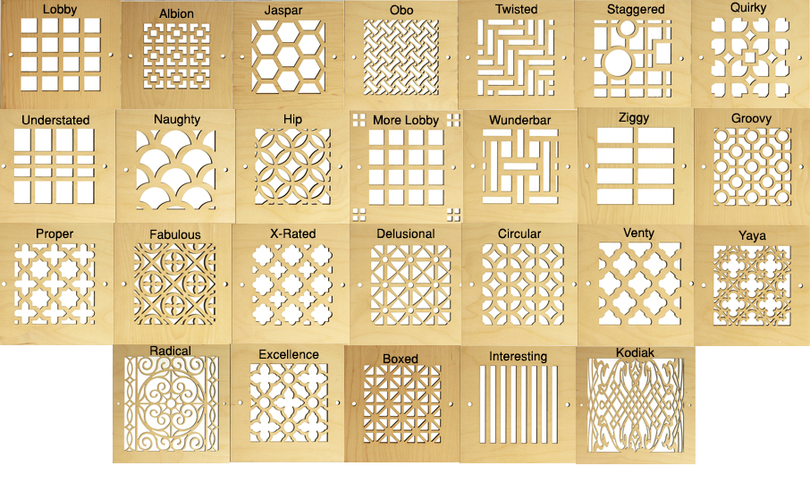 Wood design pattern cut grilles air return | Decorative Vent Covers ...