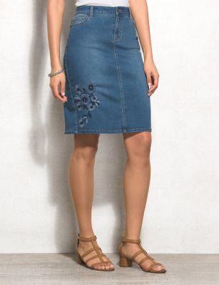 af7cb8d871 WESTPORT Floral-Embroidered Jean Skirt (original price, $32.00) available  at #Dressbarn