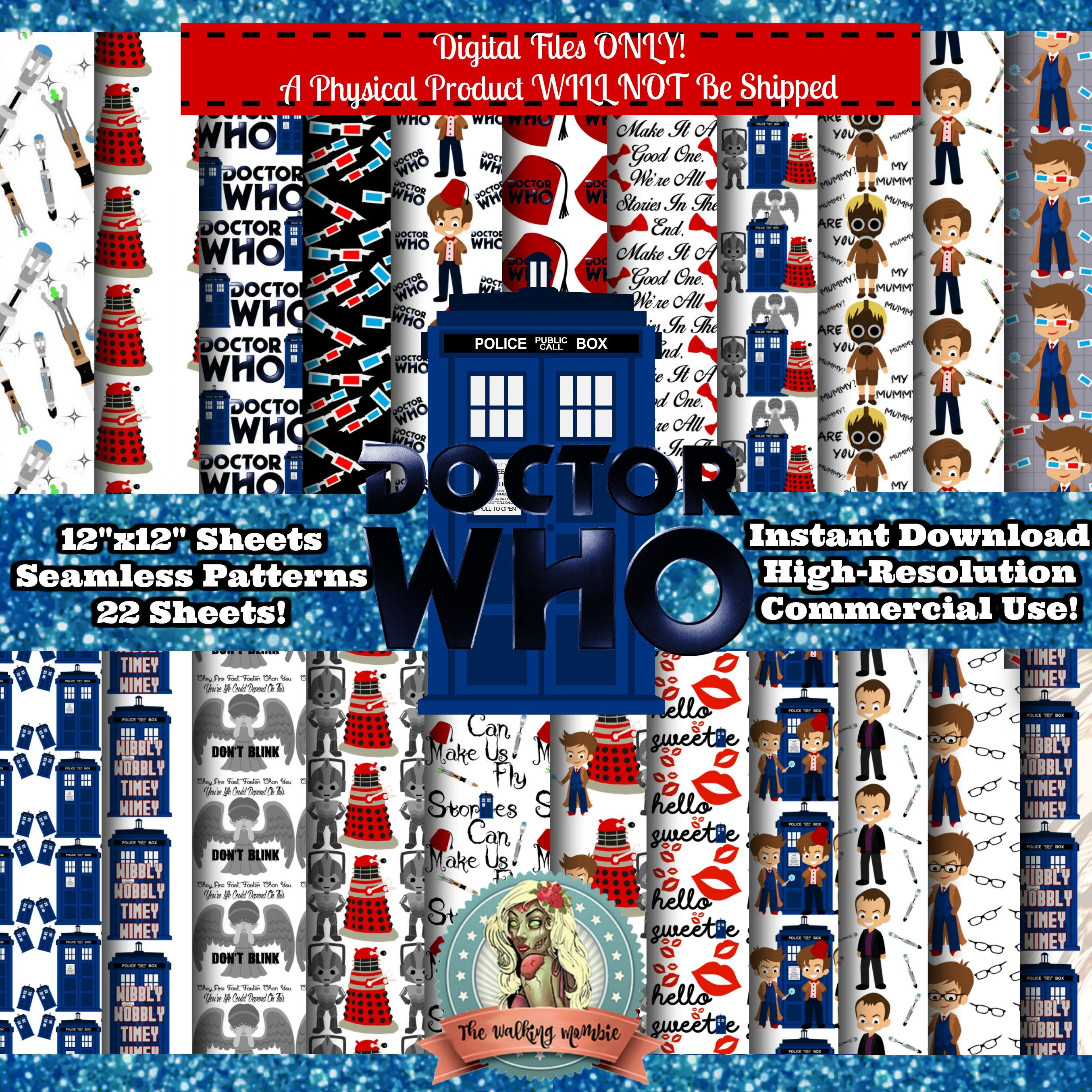 doctor who digital paper pack dr who dr who clipart doctor who clip art digital paper commercial use scrapbook paper instant download from  [ 2709 x 2709 Pixel ]