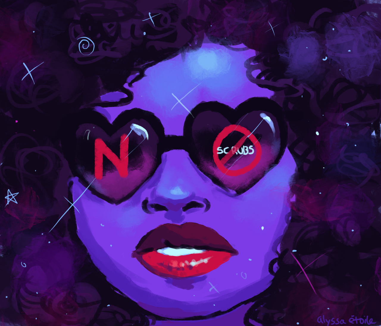 """""""an illustration i did  for a rookie article called """"How to Say No"""". i did two versions, the first one i did being the one on the bottom with the dark lips. the red lip one got published but i liked both so i decided to post both here!"""" by Alyssa Etoile"""