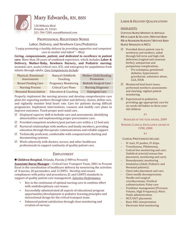 L\D Nurse Resume Example im a nurse Pinterest Nursing resume - pediatric nurse resume
