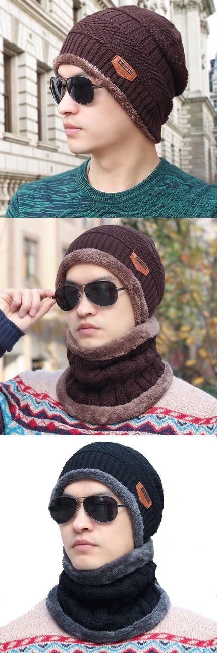 c8e03d2f026 New Fashion Hats Men Winter Wool Ski Hat scarf Set Head hooded Cap Earmuffs  Head Caps