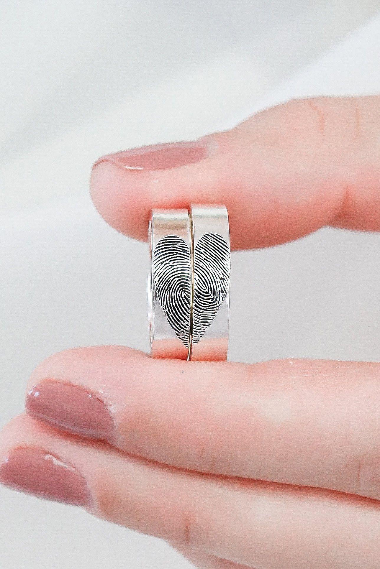Set Of 2 Fingerprint Rings Actual Fingerprint Jewelry Couple