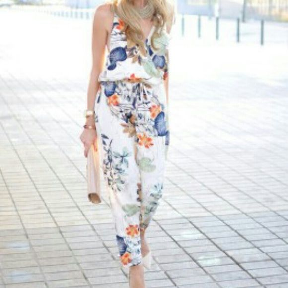 Multicolor Wrap Plunge Floral Print Cami Jumpsuit Polyester  Non-stretchable material  Hand wash cold choies  Pants Jumpsuits & Rompers