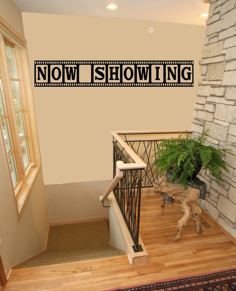 Wall Sconces For Media Room: Now Showing Movie Media Room Theater Vinyl Wall Quote
