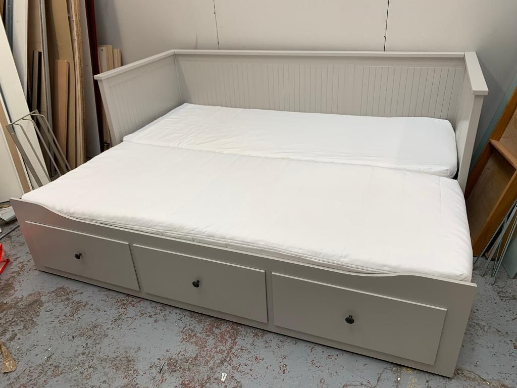 Ikea Hemnes Grey Day Bed With 2 Mattresses Good Condition Can Deliver In Westminster London Gumtree Ikea Hemnes Bed Ikea Hemnes Daybed Ikea Daybed