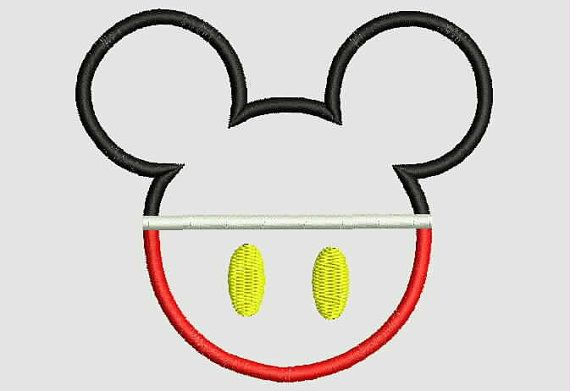 Mickey Mouse Head Applique---    ----INSTANT DOWNLOAD---    You will receive 3 sizes  Sizes included: (sizes rounded for easy reference)
