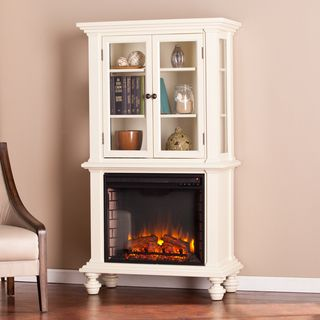 Upton Home Knox Antique White Electric Fireplace Curio
