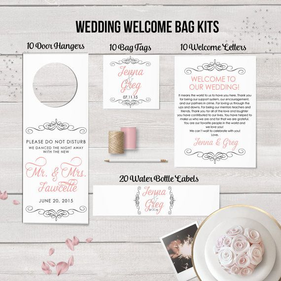 Wedding Welcome Bag Kit, Wedding Favors, Welcome Bags, Water Bottle Labels, Destination Wedding, Wedding Door Hangers, Thank You Notes, Tags