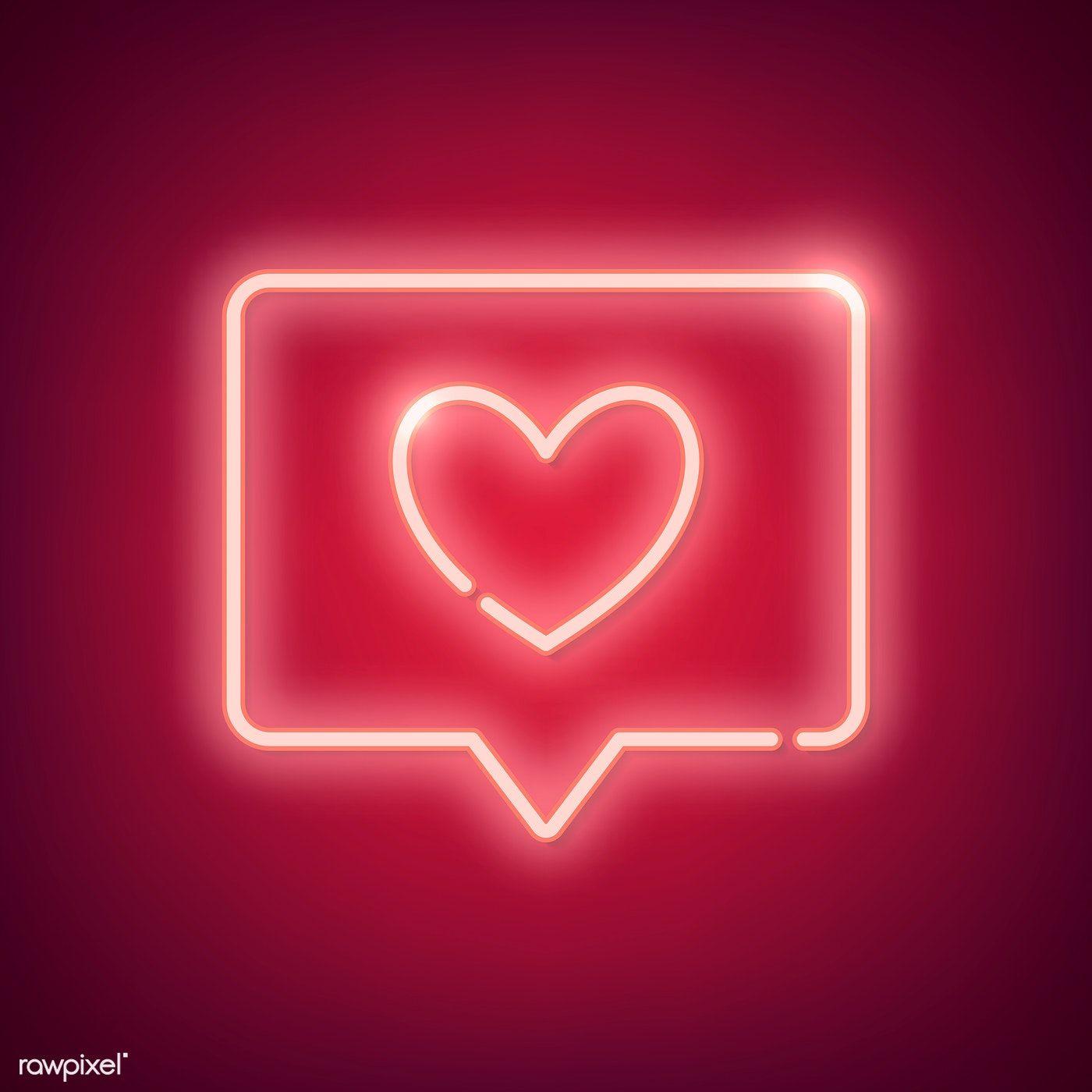 Neon pink light Valentine's day symbol on background