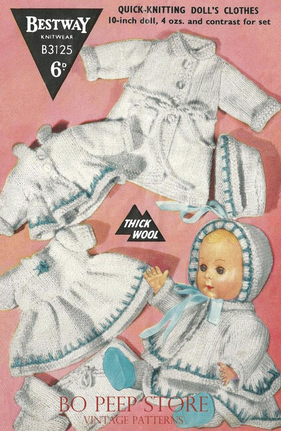 Dolls Clothes Knitting Pattern For 10 Inch Dolls Clothes Dress Dressing Gown Coat Bonnet Knitting Dolls Clothes Vintage Knitting Patterns Knitting Patterns