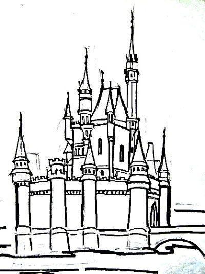 Раскраска Красивый Замок с башенками   Раскраски и Рисунки