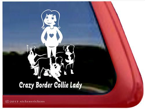 Crazy Border Collie Lady ~ DC962CBL ~ High Quality Adhesive Vinyl Window Decal Sticker