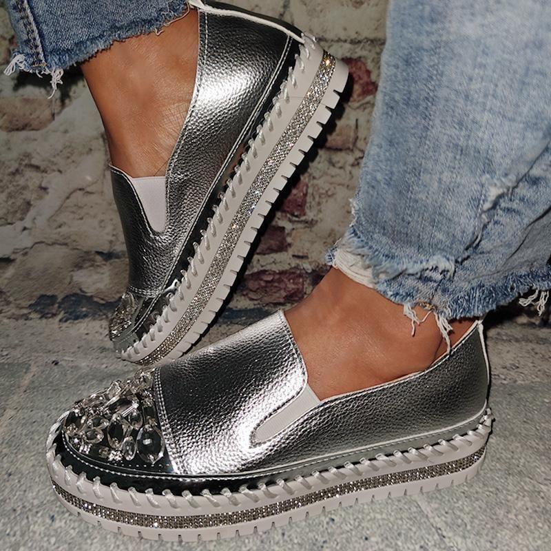 Women Fashion Flat Heel Crystal Rhinestone Glitter Slip On Platform Loafers