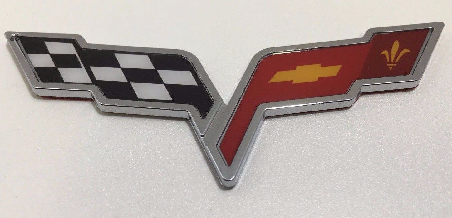 Corvette Cross Crossed Flags Chevy 3D Emblem Logo Badge Decal Chrome Red Checker