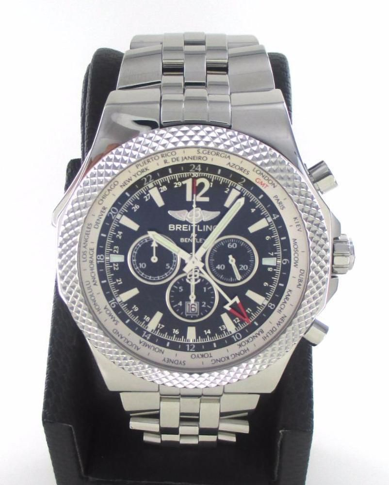 Breitling Bentley Gmt Wristwatches: BREITLING BENTLEY A47362 STAINLESS STEEL LARGE BLACK DIAL