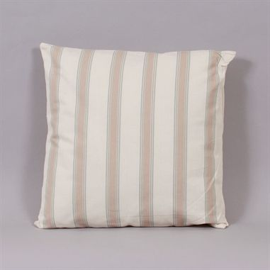 The Harris Duck Egg and Cream cushion has thick stone coloured stripes which are outlined with a thin duck egg line.