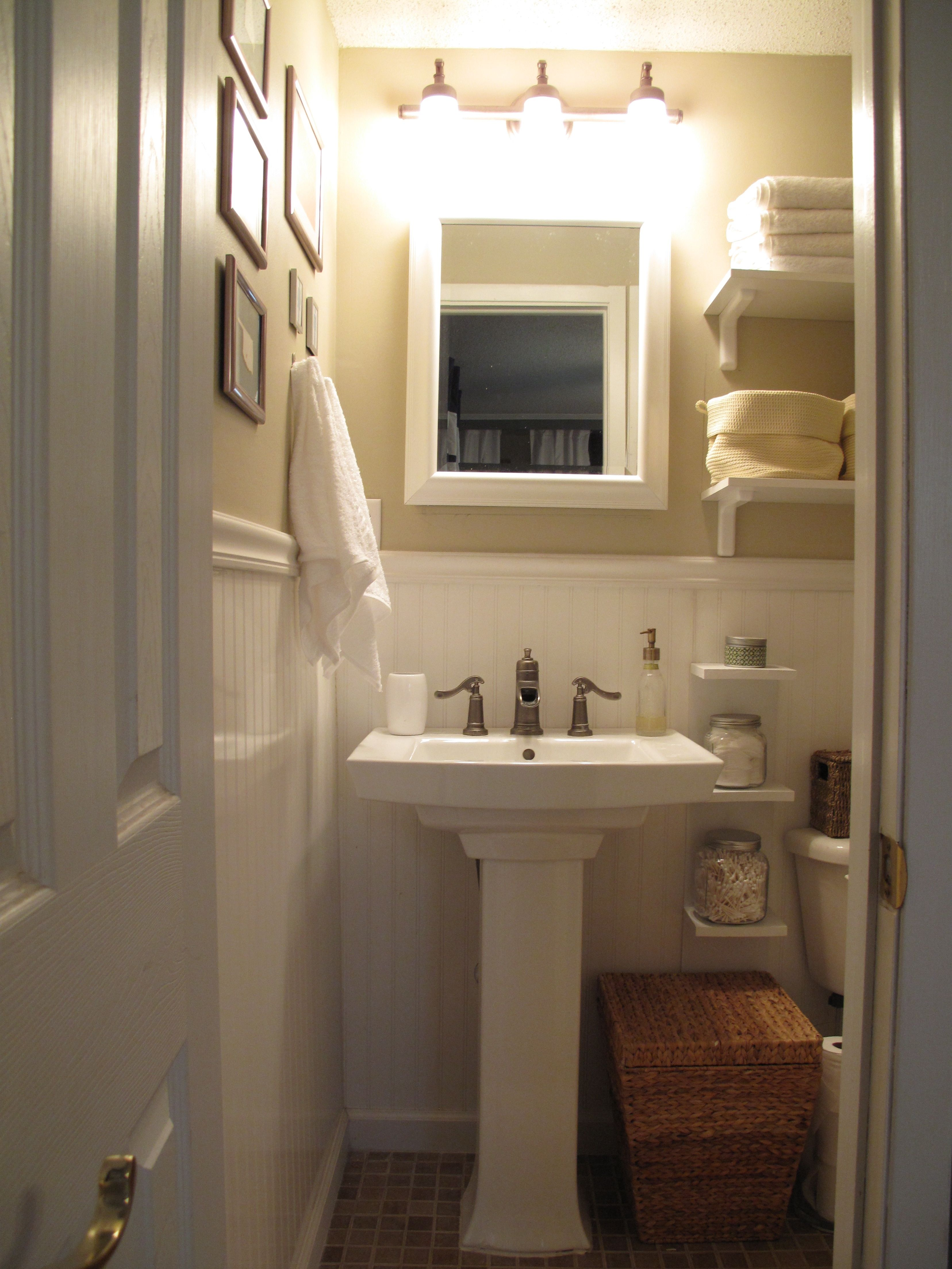 storage for small bathrooms with pedestal sinks | bathroom