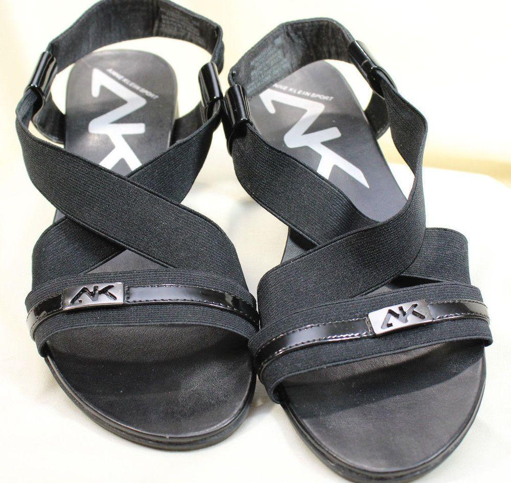 ANNE KLEIN SPORT Black Dress Sandals 9M Only Worn Twice