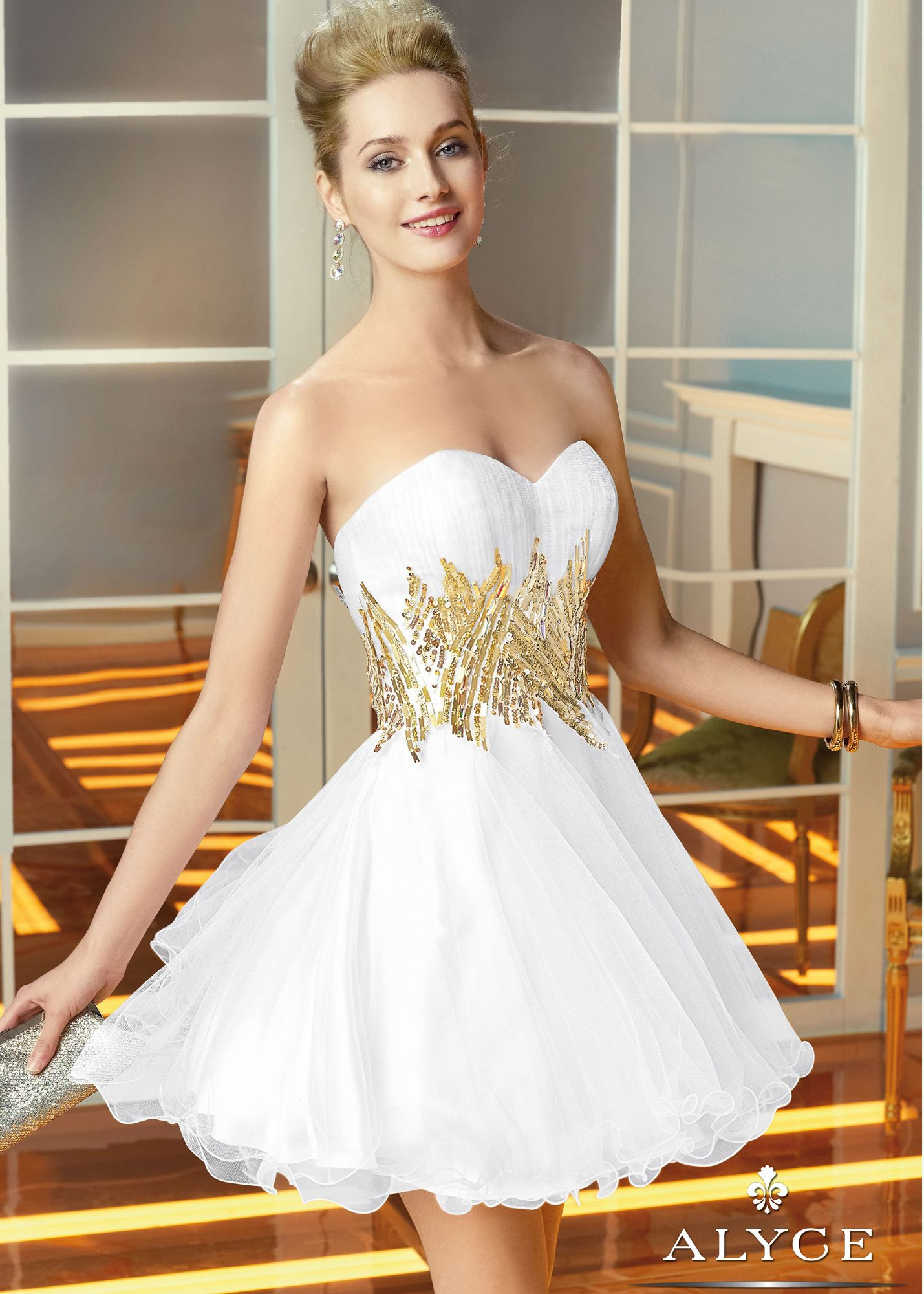 Alyce Paris 3580 - White Strapless Sweetheart Sequin Sweet 16 ...