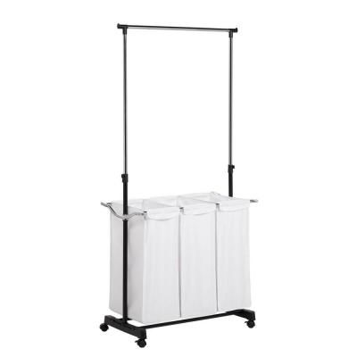 Songmics 4 Bag Rolling Laundry Sorter With Hanging Bar Heavy Duty With Wheels Larger Bags Black Urls44b Laundry Sorter Hanging Bar Laundry Cart