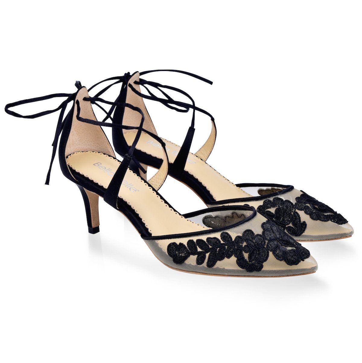 Kitten Lace Black Evening Shoe In 2020 Black Evening Shoes Evening Shoes Low Heel Black Heels Low
