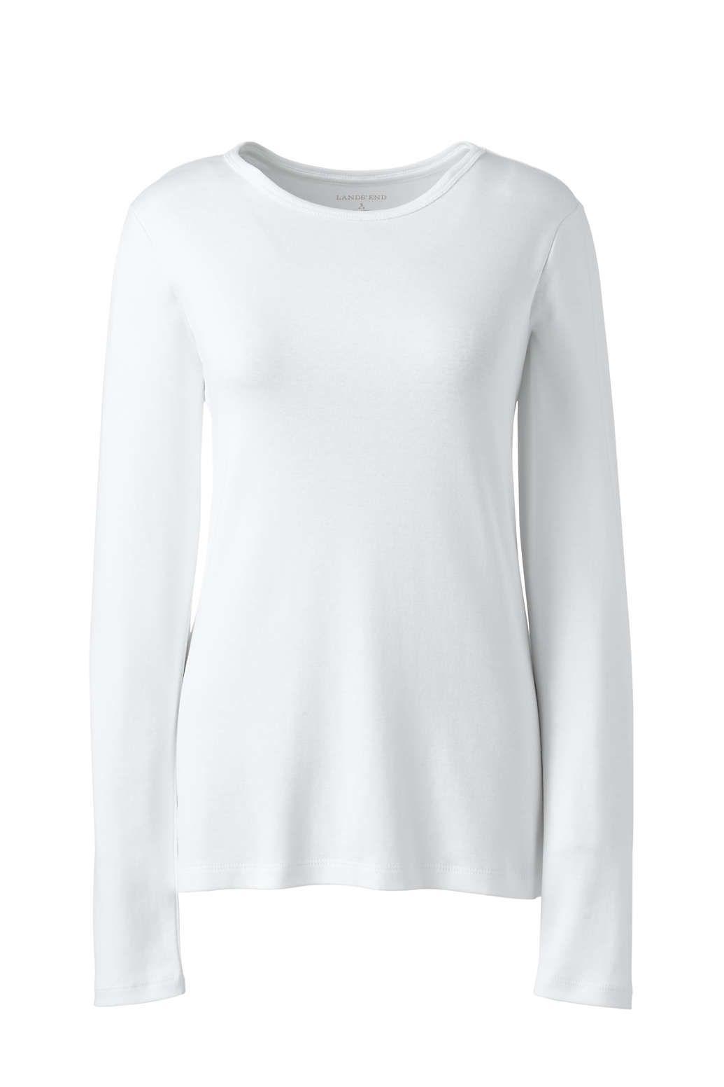 Lands End Womens All Cotton Long Sleeve Crewneck T-Shirt