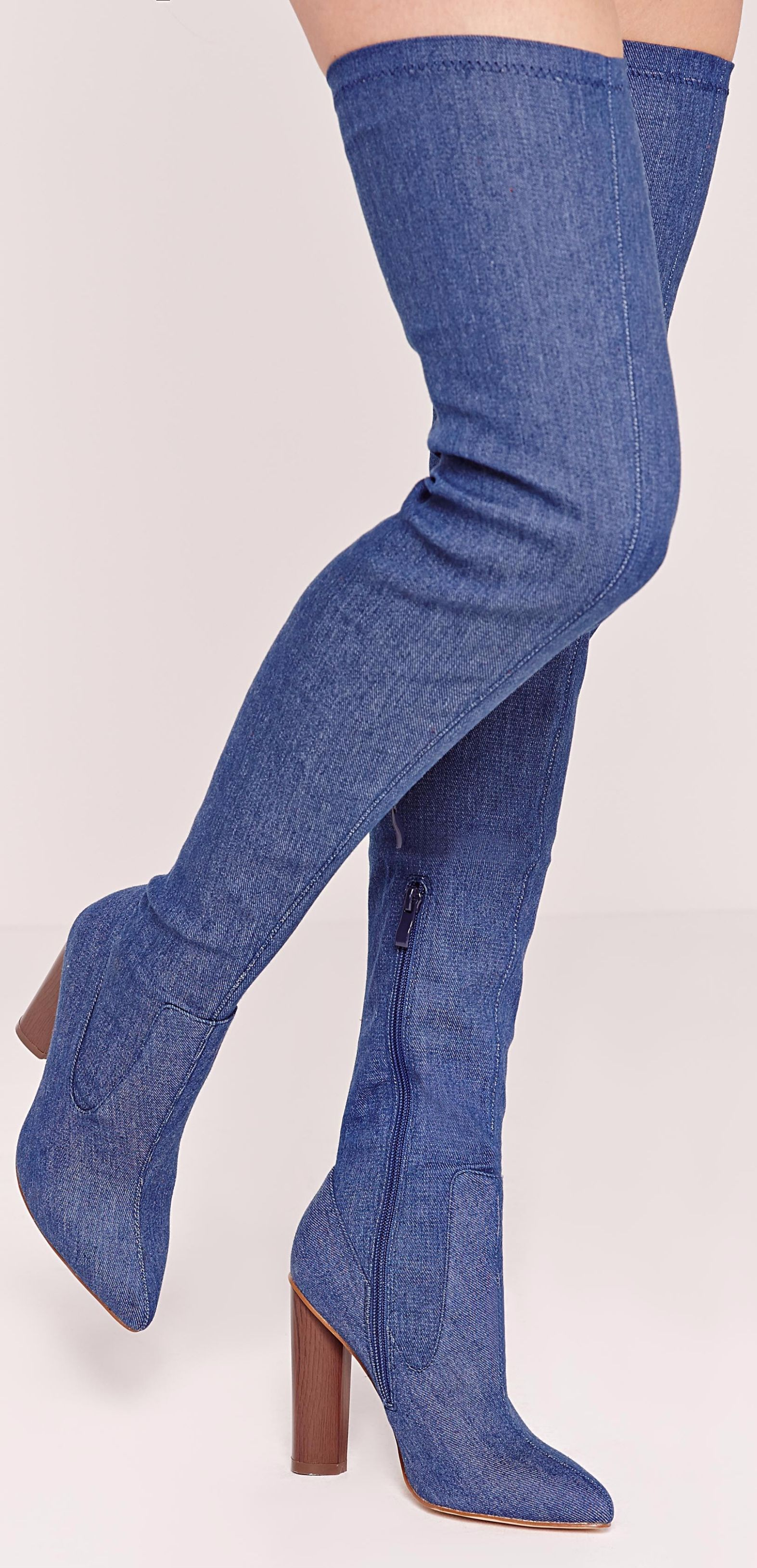 517aba8881e5 This is a must-have in every fashionista's closet. Like seriously this over  the knee denim boots is da bomb! (affiliate)