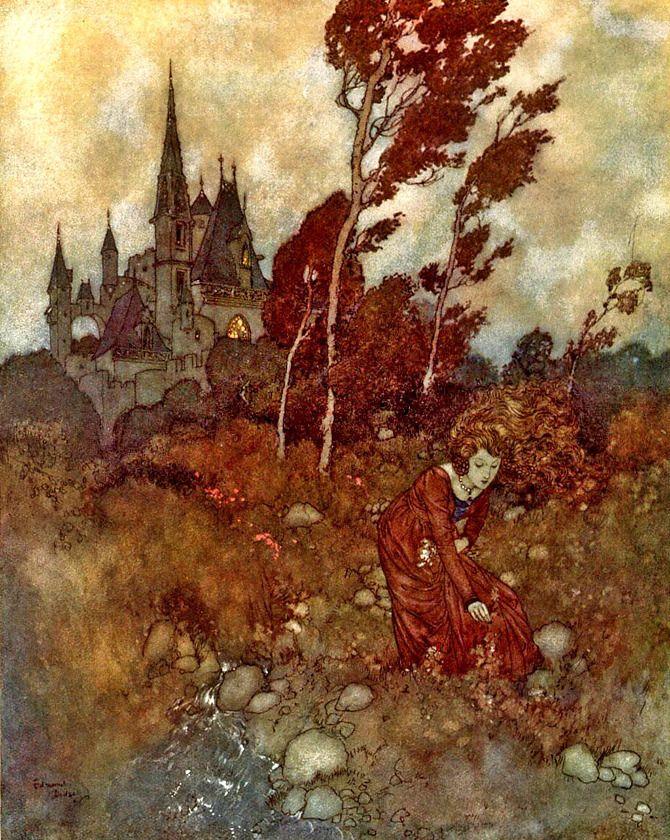 """Edmund Dulac (1882 - 1953). Este artista nacido en Francia, desarrolló su carrera profesional en Inglaterra como ilustrador de cuentos infantiles y diseñador de sellos de correos, destacando entre los más insignes ilustradores durante la llamada """"Edad de Oro de la Ilustración""""."""