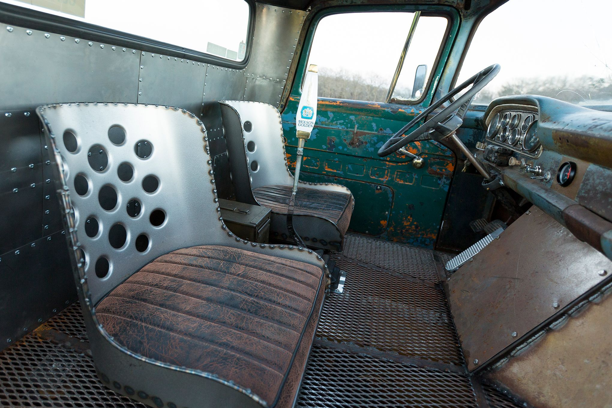 1960 Ford F100 With A Super Cool Interior Extruded Steel Floor And 1955 Headliner An Exposed Steering Shaft Vs Traditional Column