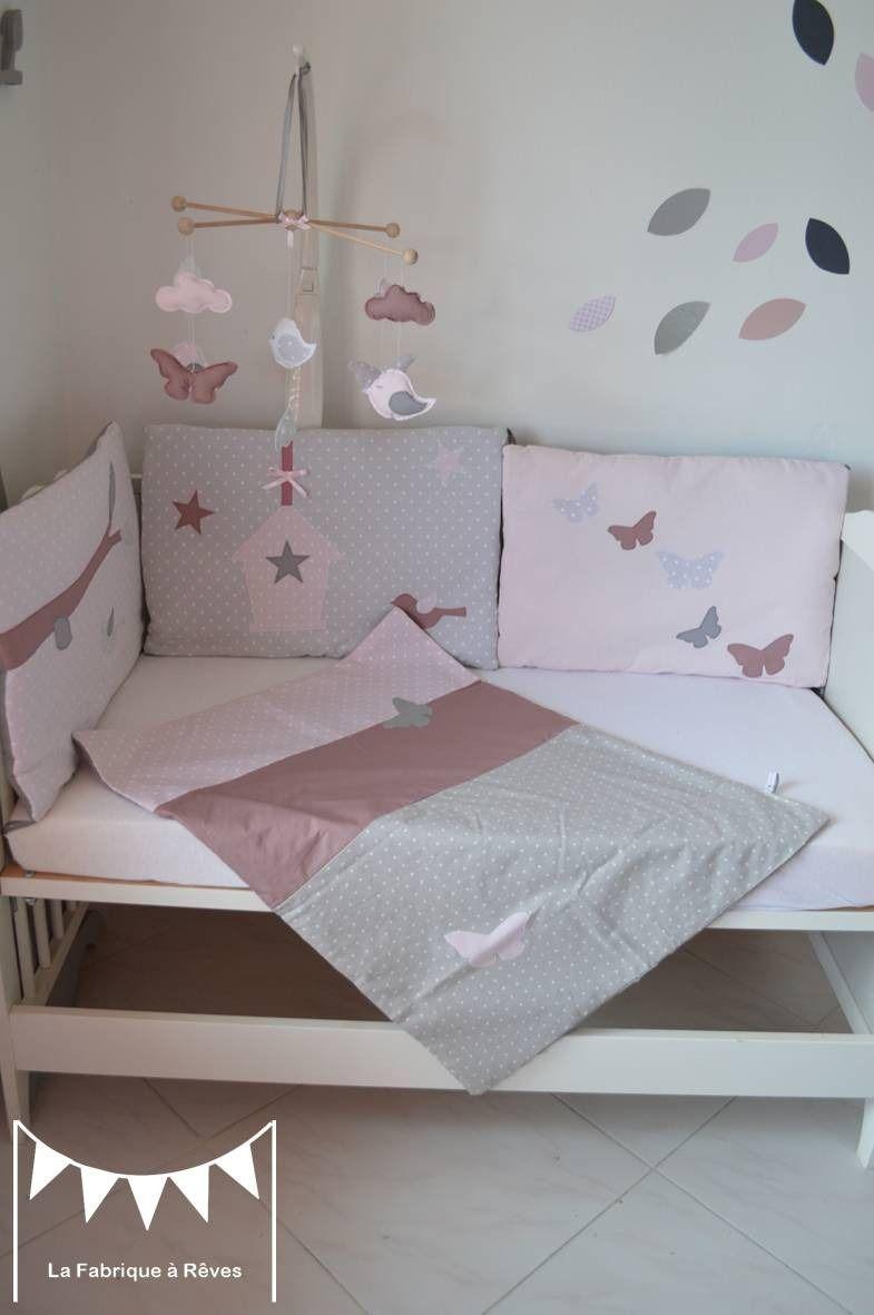 Couverture b b rose poudr gris vieux rose en coton et percale de soie face en polaire - Chambre fille vieux rose ...
