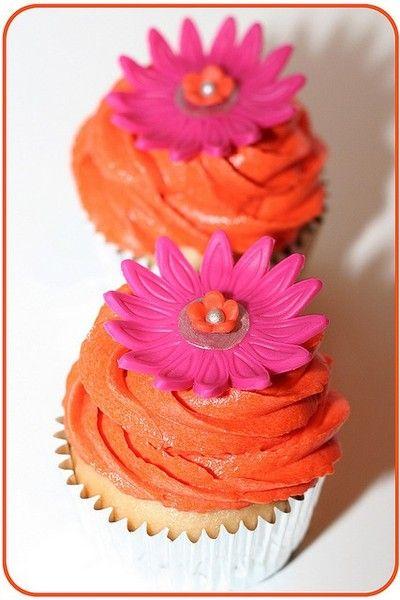 orange & pink cupcakes
