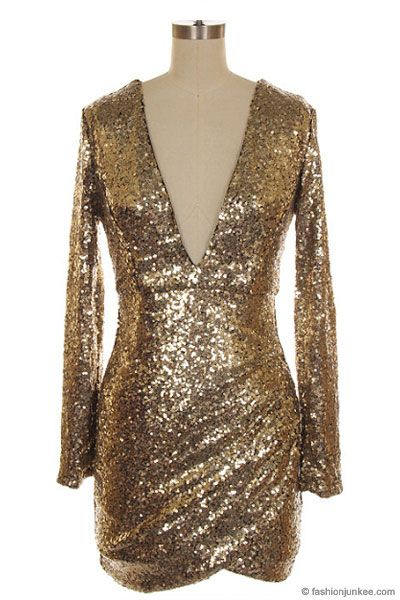 f854b1aeef8 Plus Size Sequin Long Sleeve Low Cut V-Neck Dress-Gold - Sequin Dresses for  New Year s Eve!