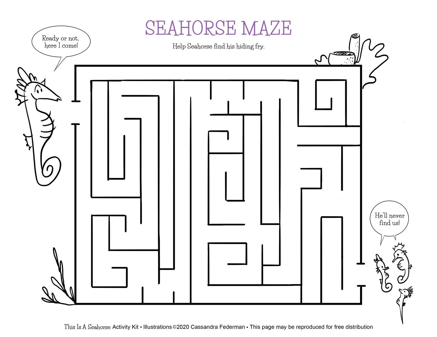 Seahorse Maze Worksheets For Kids Activity Kits Teaching Tools [ 1159 x 1500 Pixel ]