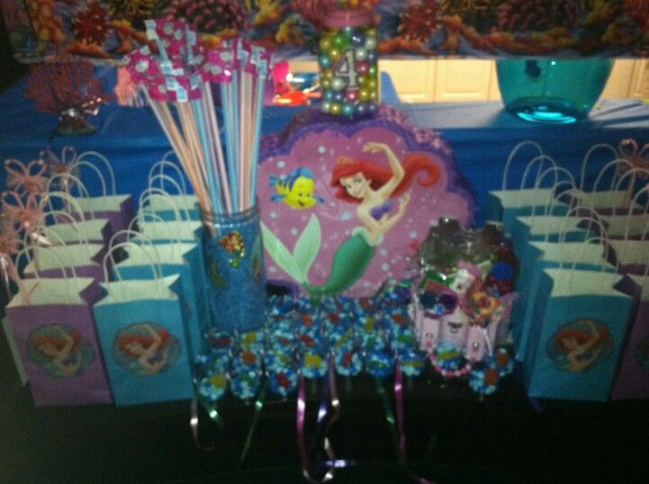 Mermaid Party Cut Out Paperhats From City And Glued On Plain Bags For Goody Mm Cups With Swedish Fish Little Metal Treasure Box Filled
