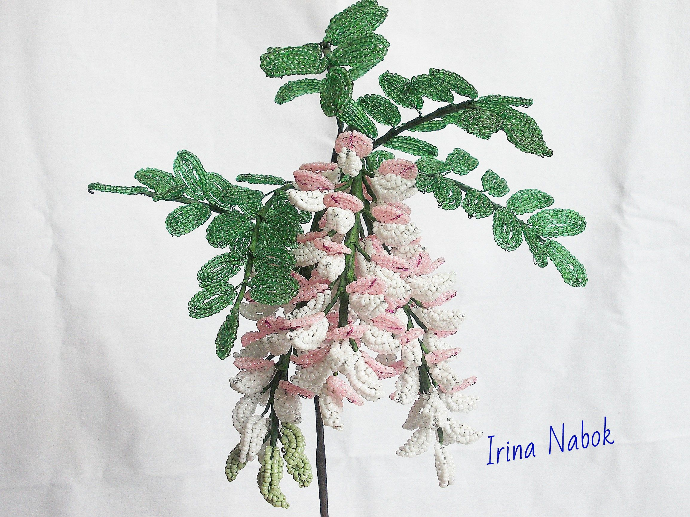 Acacia Branch From Beads Beaded Flowers A Decor For The Etsy In 2020 Beaded Flowers French Beaded Flowers Vintage Flowers