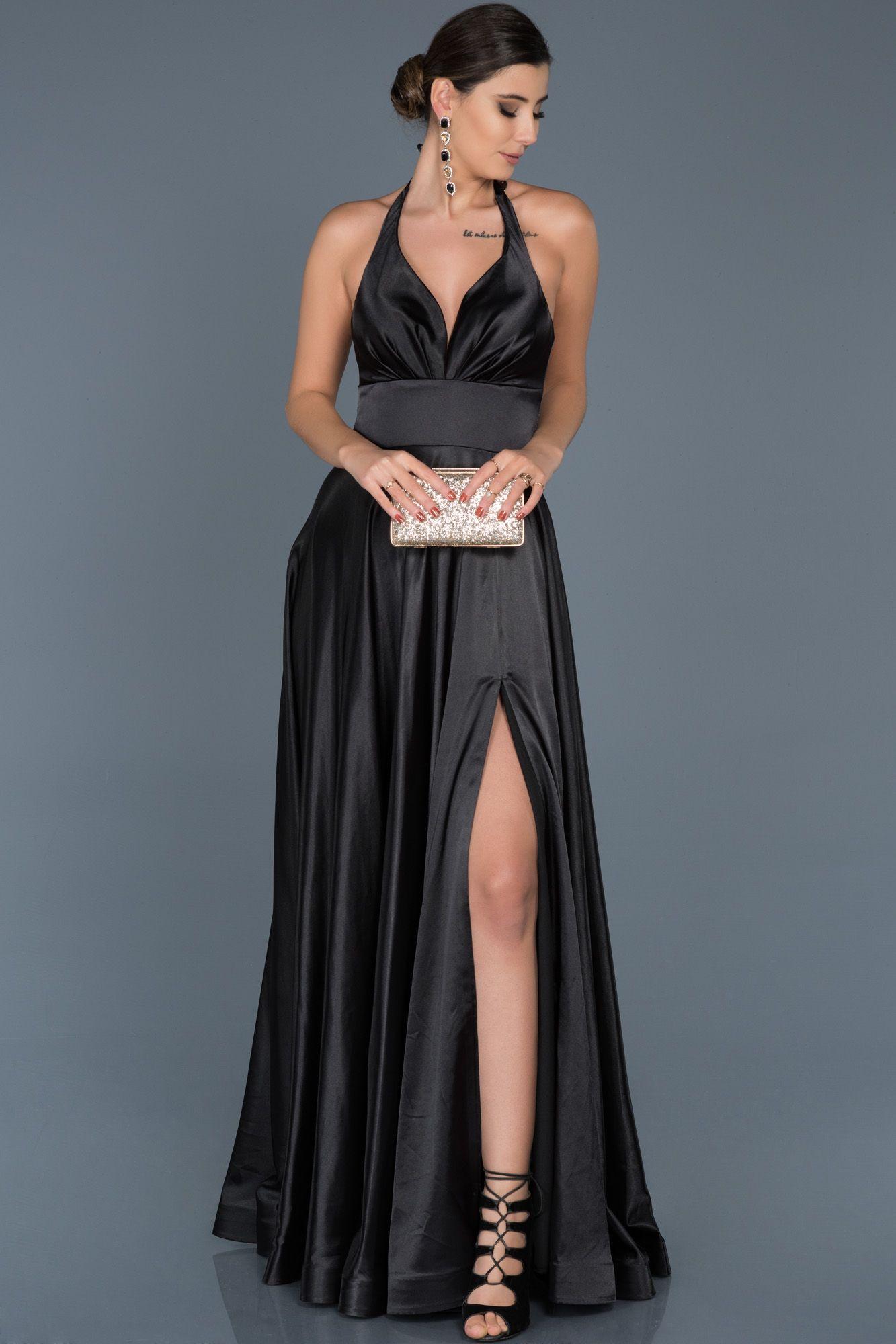 Siyah Yirtmacli Saten Gece Elbisesi Abu543 Moda Stilleri Siyah Abiye Elbise