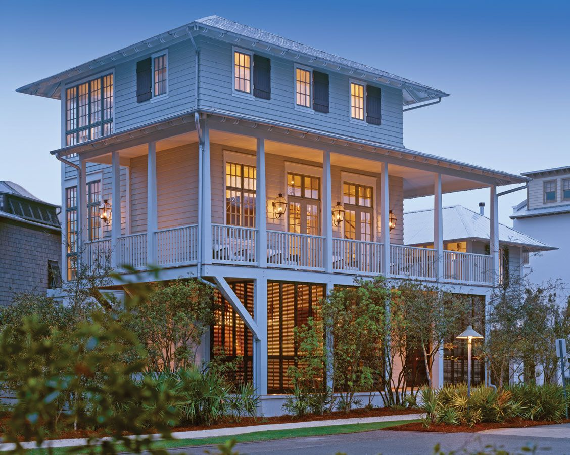 By enclosing the stacked porches on the back elevation and for Beach house elevations