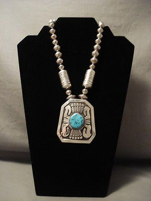 COLOSSAL-VINTAGE-NAVAJO-THOMAS-SINGER-TURQUOISE-SILVER-NECKLACE-OLD