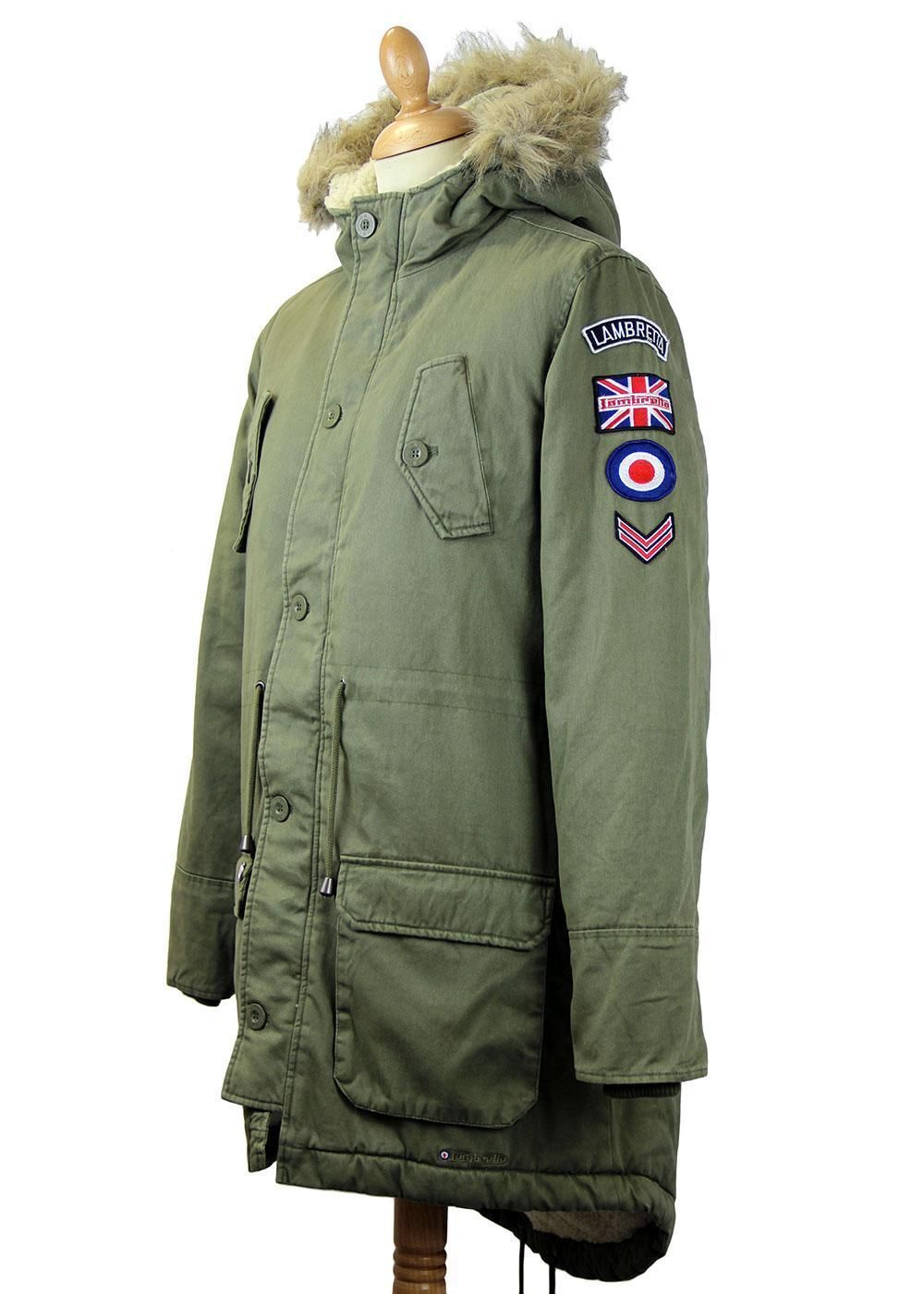 6560c3308 Lambretta Mens Retro Fishtail Parka Coat Jacket Khaki Green Vintage ...