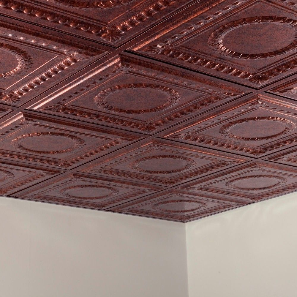 Fasade Rosette Moonstone Copper 2 Foot Square Lay In Ceiling Tile